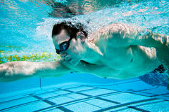 Swimming. Swimmer Under Water in Pool Royalty Free Stock Images