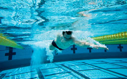Swimming. Swimmer Under Water in Pool Stock Photo