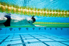 Swimming. Swimmer Under Water in Pool Stock Photography