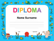 Swimming award certificate template illustration Stock Photos