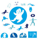 Swimming babies Royalty Free Stock Photography