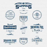 Swimming badges logos and labels for any use Royalty Free Stock Images