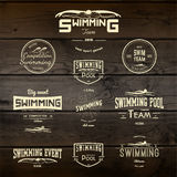 Swimming badges logos and labels for any use Stock Photography