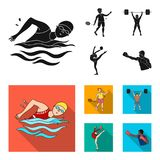 Swimming, badminton, weightlifting, artistic gymnastics. Olympic sport set collection icons in black, flat style vector Stock Photos