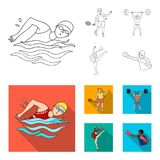 Swimming, badminton, weightlifting, artistic gymnastics. Olympic sport set collection icons in outline,flat style vector Stock Images