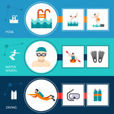 Swimming Banners Set Royalty Free Stock Photography
