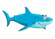 Swimming big shark cartoon character Stock Photo