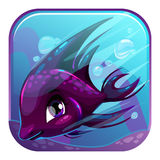 Swimming black fish illustration. Stock Photos