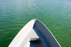 Swimming boat. View to the water from swimming boat Stock Photos