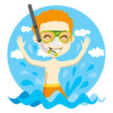 Swimming Boy. Young kid with snorkel and diving mask playfully playing on water Stock Photos