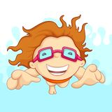Swimming Boy. Vecto illustartion of boy doing swimming with safety goggles Royalty Free Stock Photos