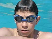 Swimming boy with goggles Royalty Free Stock Image