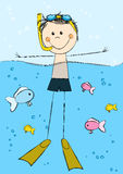 Swimming boy on sea background. Cute swimming boy on sea background Royalty Free Stock Photo