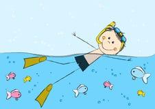 Swimming boy on sea background. Cute swimming boy on sea background Stock Photo
