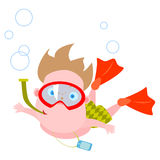 Swimming boy. Vector illustration of swimming boy on white background Royalty Free Stock Images