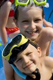 Swimming Brothers royalty free stock image
