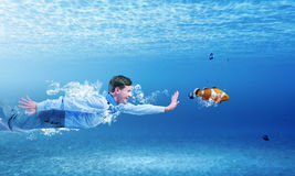 Swimming businessman Royalty Free Stock Photography