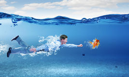 Swimming businessman Royalty Free Stock Images