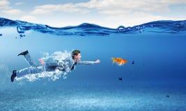 Swimming businessman Stock Image