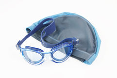 Swimming cap and glasses Royalty Free Stock Image