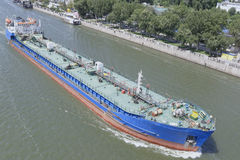 Swimming Cargo Ships On The River In Rostov-on-Don