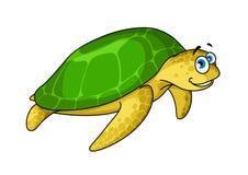 Swimming cartoon green turtle animal Stock Photography