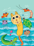 Swimming cat Royalty Free Stock Image