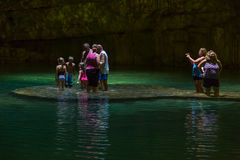 Swimming in a Cenote stock photography