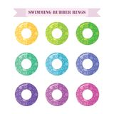 Swimming circle. Set of swimming 3d rubber rings with pattern. Set of swimming 3d rubber rings with pattern, flat vector design lifebuoy. Icon for summer holiday stock illustration
