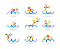 Swimming colorfu icons Stock Image