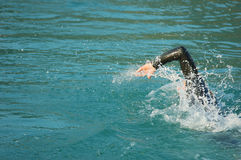 Swimming in competition. Swimming in the Raid Txakal extreme, a competition of adventure sports Royalty Free Stock Photos