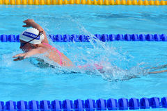 Swimming competition close-ups in pool. Swedish championship in  2014 swim Stock Photo