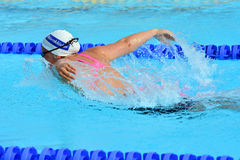 Swimming competition close-ups in pool. Swedish championship in  2014 swim Stock Photography