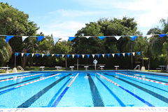 Swimming competition Pool. Wide view of a swimming competition pool Royalty Free Stock Images
