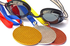 The swimming competitions winners. Royalty Free Stock Photos