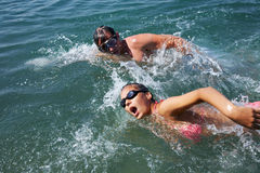Swimming couple Royalty Free Stock Images