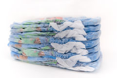 Swimming diapers. Stack of swimming diapers isolated on a white background royalty free stock images