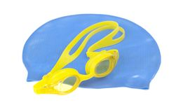 Swimming diving snorkeling aquatic equipment on white background. Swimming set isolated on white background royalty free stock photography