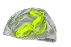 Swimming diving snorkeling aquatic equipment on white background. Swimming set isolated on white background stock images