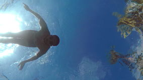 Swimming and diving underwater. stock video