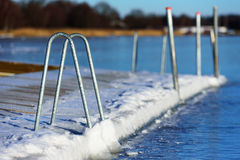 Swimming dock in winter. A swimming dock or bathing pier has frozen solid in the sea ice at winter. Seen from the sea with the main land in background. Handles Royalty Free Stock Image