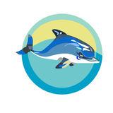 Swimming dolphin. A vector illustration of a marine logo with a swimming dolphin Stock Image