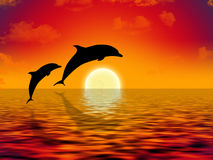 Swimming dolphins vector illustration