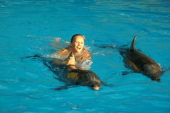 Swimming with dolphins Royalty Free Stock Photography