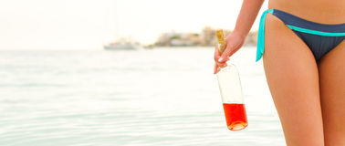 Swimming drunk is dangerous. Royalty Free Stock Images