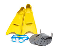 Swimming equipment, flippers goggles paddles Royalty Free Stock Photos
