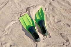 Swimming fins on a beach Royalty Free Stock Photography