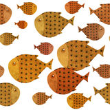 Swimming fish border illustration. Swimming fish repeatable seamless border illustration, textured paper effect on white background Royalty Free Stock Photography