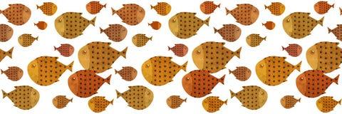 Swimming fish border illustration Stock Photography