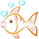 A swimming fish and bubbles in the shape of a heart.  Royalty Free Stock Photography